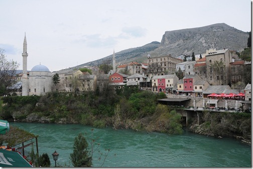 View of Mostar, Bosnia-Herzegovina from the Stari Most Bridge.