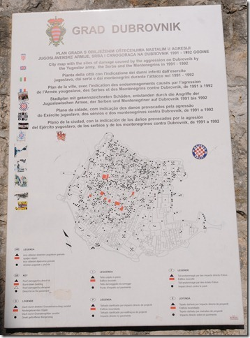 Plaque Displaying Map of Artillery Hits in Dubrovnik, Croatia during the Yugoslav War in 1991.