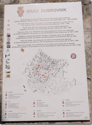 Plaque Displaying Map of Artillery Hits in Dubrovnik, Croatia during the Yugoslav War in 1991.