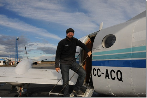 Boarding the flight to Antarctica, a Beechcraft King Air 100 Turoprop run as DAP flight 91, PUQ-SCRM.