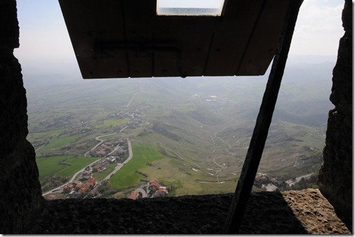 View from the window of Guaita tower on Mount Titano, San Marino