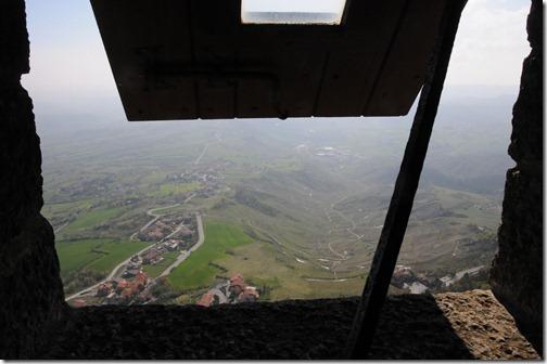 View from the window of Guaita tower on Mount Titano, San Marino