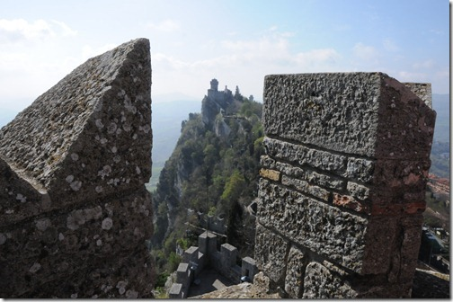 The tower on Cesta (De la Fratta) peak as viewed from the tower on Guaita peak in San Marino, a microstate surrounded by Italy in Europe