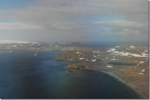 Coming in for a landing on King George Island, Antarctica. Note the Uruguayan research station (Artigas) on the right side and the Russian and Chilean settlements nestled into the valley in the middle of the picture.