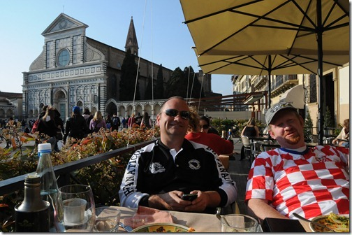 Dining near the Basilica of Santa Croce in Florence, Italy, resting spot of Michelangelo and Galileo