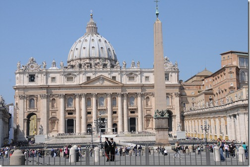 St. Peter's Square, with a view of the Vaticano Obelisk and the dome of St. Peter's Basilica, in the city of Rome