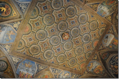 Ornate portion of the ceiling in the Vatican Museum