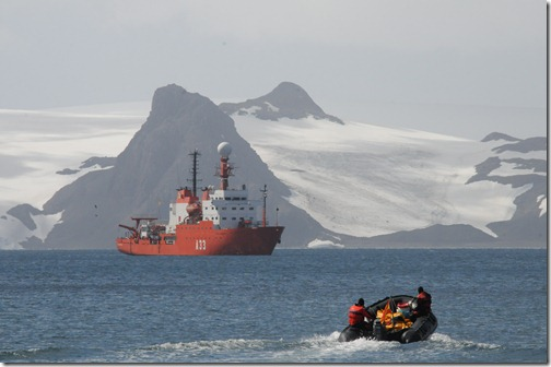 Traveling in a zodiac raft in Maxwell Bay, King George Island, Antarctica