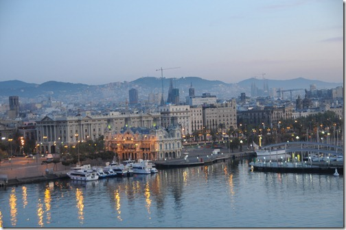 Port of Barcelona, Spain in the evening