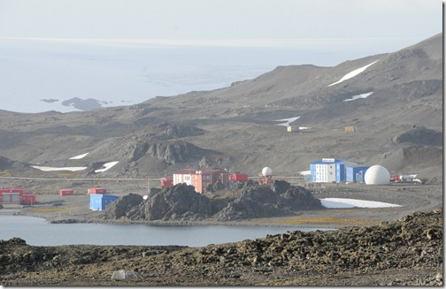 View of the Chinese 'Great Wall' station from the ridge near Villa las Estrellas, Antarctica. Note the giant 'soccer-ball' style satellite uplink.