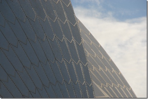 Glazed white ceramic tiles of the Sydney Opera House, Sydney, Australia
