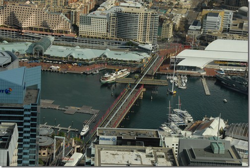 Aerial view of the Pyrmont pedestrian bridge in its open position, Sydney, Australia