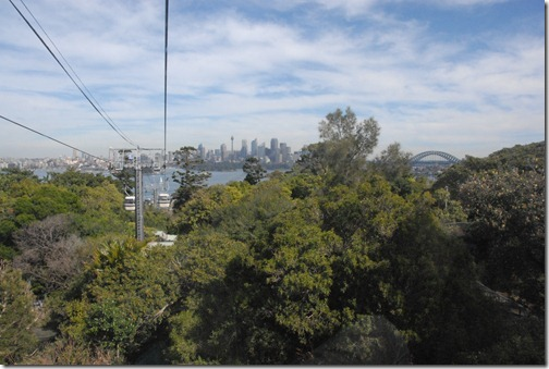 Taking a gondola lift to the Taronga Zoo in Sydney, Australia