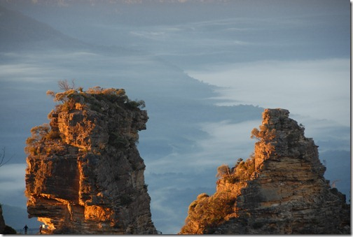 Closeup of two of the Three Sisters in Katoomba, Blue Mountains, Australia