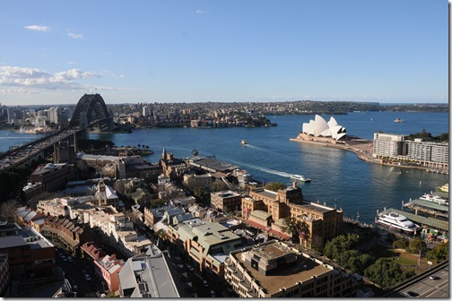 A view of Sydney Harbour Bridge, the Rocks neighborhood, and the Opera House