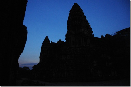 Pre-dawn inside the courtyard of the Inner Temple in Angkor Wat, Cambodia