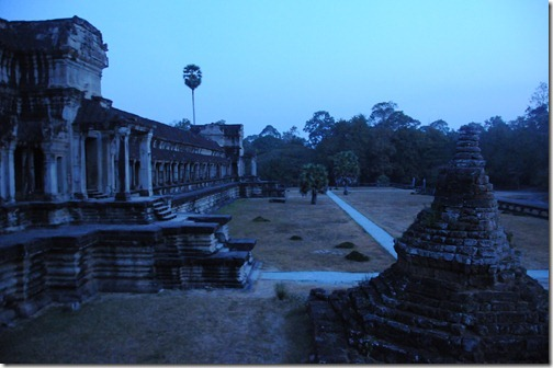 Pre-dawn in the courtyard of the Angkor Wat Temple Complex, Cambodia