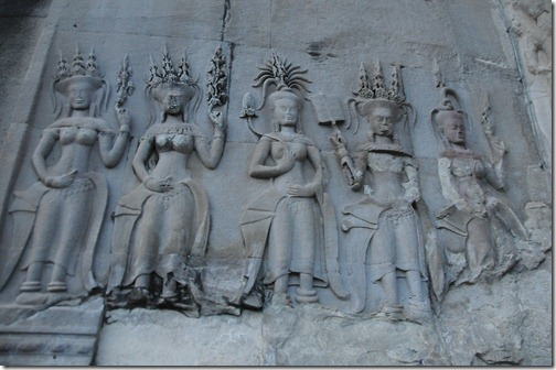 Devatas carved onto the walls of Angkor Wat, Cambodia