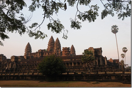 Early daylight shining on the towers of the Center Temple at Angkor Wat, Cambodia