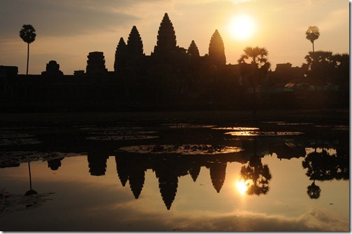 Sunrise reflected in a pond at Angkor Wat, Cambodia