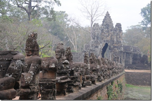 Causeway leading to the South Gate of Angkor Thom, Cambodia