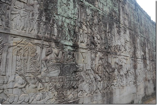 Bas Relief of Khmer Conquests on the Walls of the Bayon Temple Complex, Angkor Thom, Cambodia