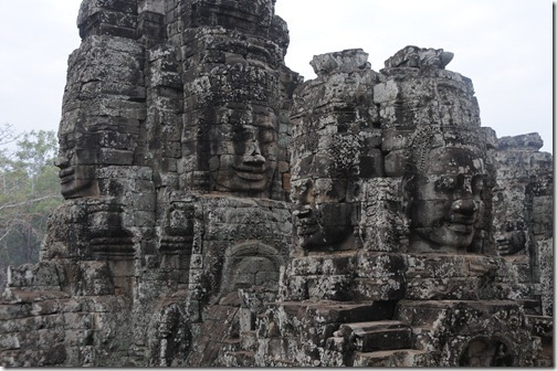Buddhist Faces Carved into the Bayon Temple in Angkor Thom, Cambodia