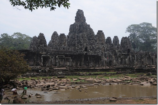 Locals fishing outside of the Bayon Temple in Angkor Thom, Cambodia