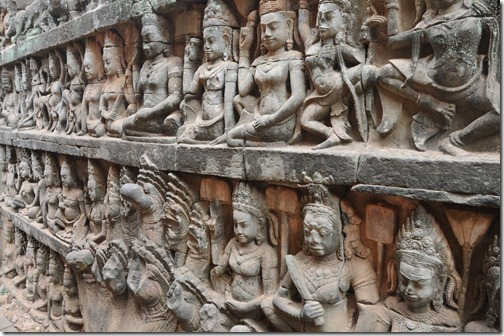 Close-up of the bas relief of the Terrace of the Leper King inside Angkor Thom, Cambodia