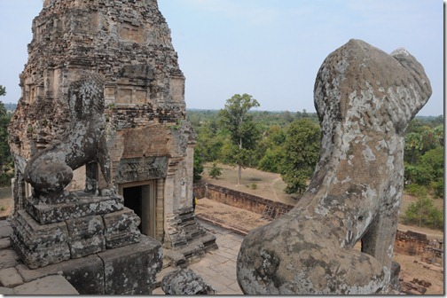 Lion statues on top of Pre Rup temple, Angkor region, Cambodia