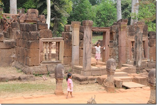 Children playing in Banteay Srei Temple, Cambodia