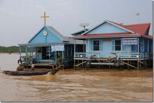 Floating church and floating school in the village of Chong Kneas on Tonlé Sap lake, Cambodia