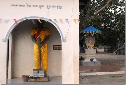 Statue informally known as 'Cricket-playing Buddha' in the Buddhist monastery on the top of Phnom Krom, Cambodia