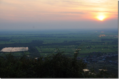 Sunrise over Cambodia as viewed from the hill at Phnom Krom, Cambodia