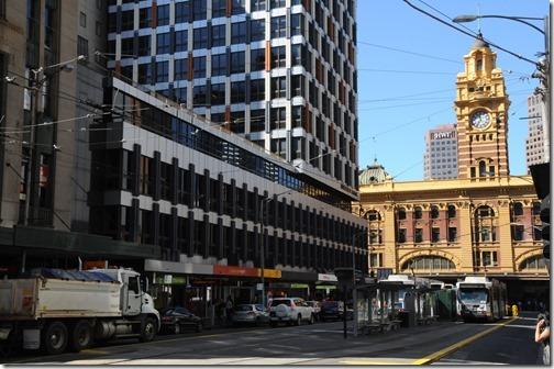 A look down Elizabeth Street to the Flinders Station in Melbourne, Victoria, Australia