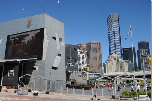 View of the Eureka Tower in Southbank from Federation Square in Melbourne, Victoria, Australia