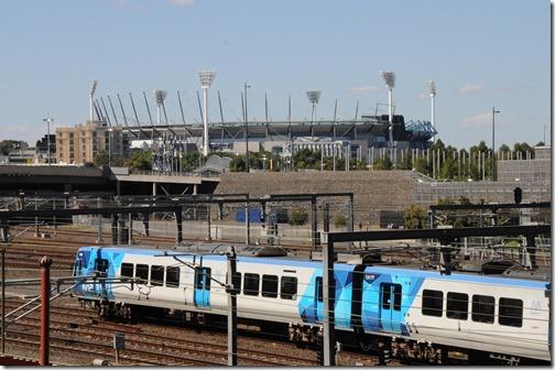 Train yards near the MCG, Melbourne, Victoria, Australia