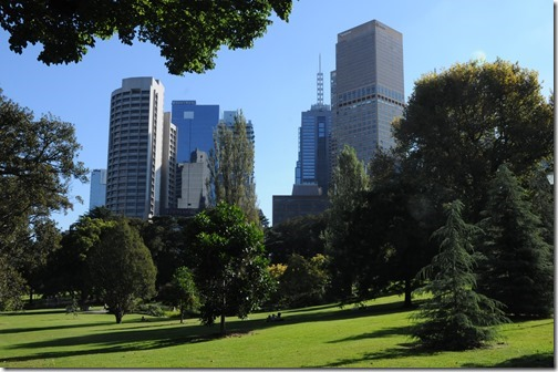 The Melbourne CBD as seen from Treasury Gardens in Melbourne, Victoria, Australia