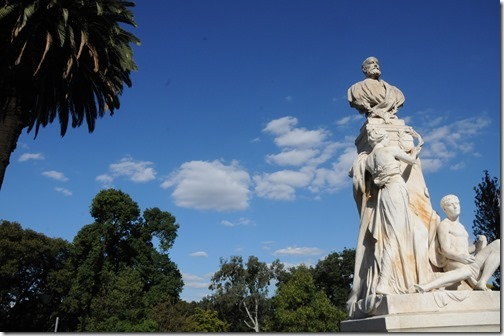 Statue of Sir William John Clarke at the entrance to the Treasury Gardens in Melbourne, Victoria, Australia