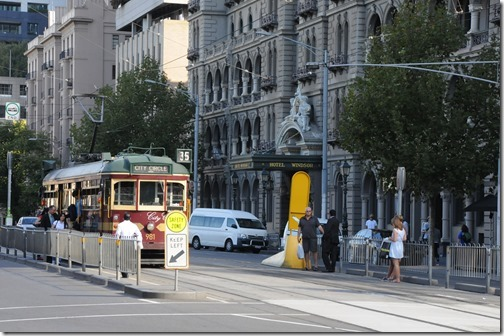 City Circle route historic trams in Melbourne, Victoria, Australia
