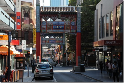 Melbourne Chinatown gates on Little Bourke Street