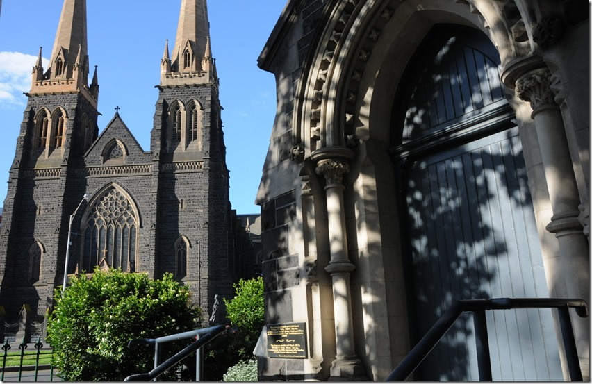 The Irish St. Patrick's Cathedral (left) and the German Trinity Lutheran Church (right) in Melbourne, Victoria, Australia