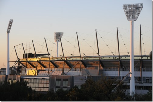 Melbourne Cricket Ground (MCG) at Sunrise in Melbourne, Victoria, Australia
