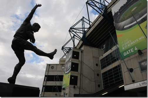 Statue of an Australian Rules Football player near the Melbourne Cricket Ground (MCG) in Melbourne, Victoria, Australia