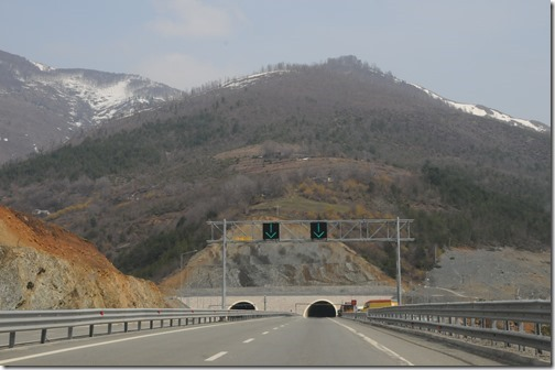 Tunnel entrance near Thirra, Albania in the new Albania-Kosovo Highway (A1) from Albania to Kosovo