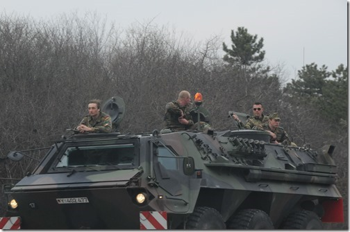 A Kosovo Force (KFOR) German TPz 'Fuchs' armored personnel carrier on the road near Pristina, Kosovo