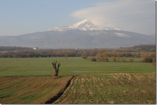 View of the Šar (Sharr) Mountains from the train that travels between Pristina, Kosovo to the border with FYRO Macedonia