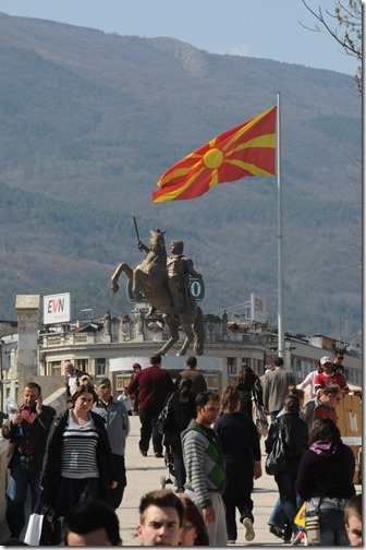 The controversial 'Warrior on a Horse' statue that looks suspiciously like Alexander the Great of Macedon in Skopje, FYRO Macedonia