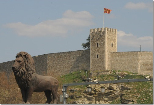 Skopje Fortress and Bronze Lion on the Goce Delchev Bridge in Skopje, FYRO Macedonia