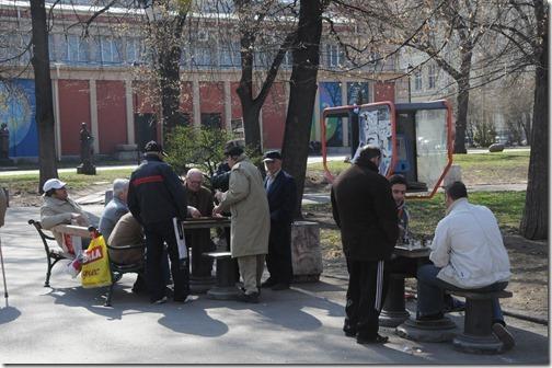Chess games in the Sofia City Garden in the center of Sofia, Bulgaria